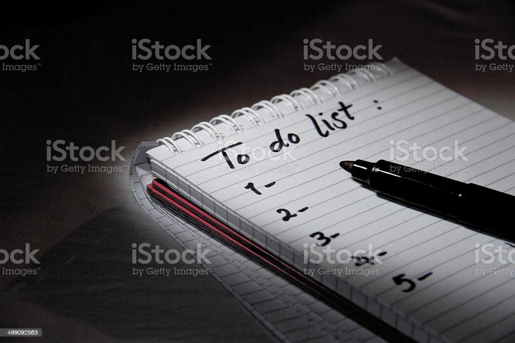 To-do list under the light stock photo