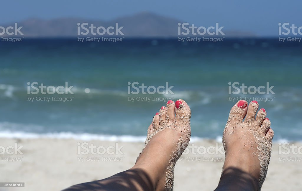 Toes on the beach royalty-free stock photo