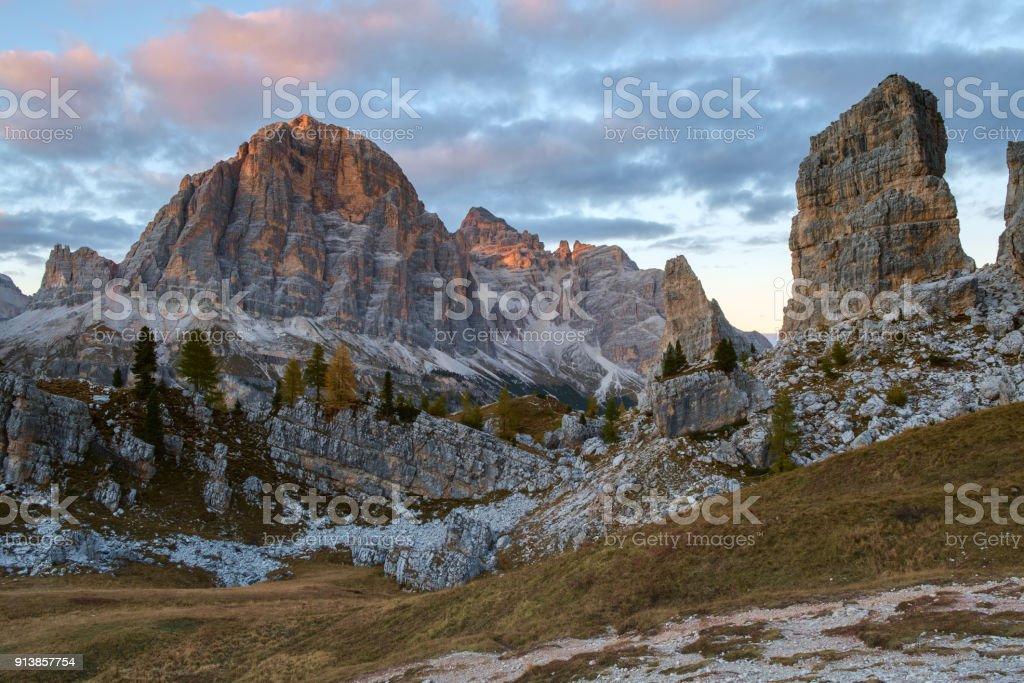 Tofana in the Dolomite alps stock photo