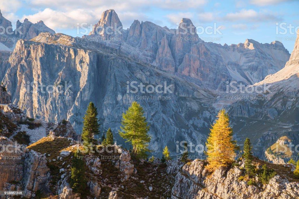 Tofana range after the sunset , Dolomite Alps stock photo