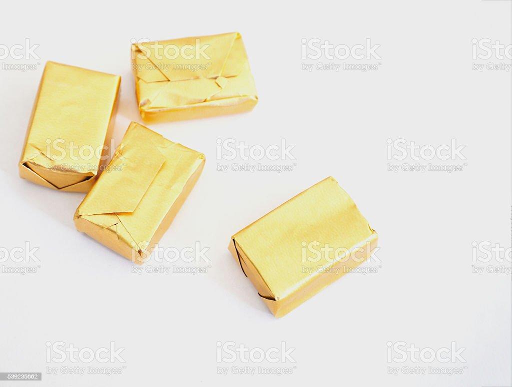 Tofe y oro envase foto de stock libre de derechos