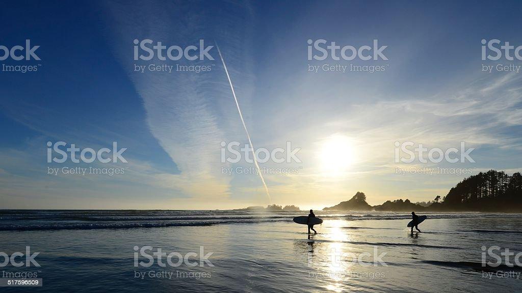 Tofino British Columbia Surfers stock photo