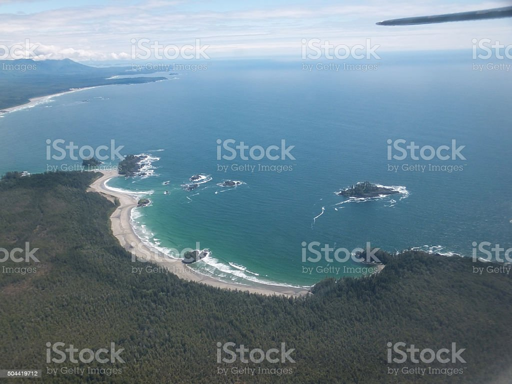 Tofino surfing beach aerial stock photo