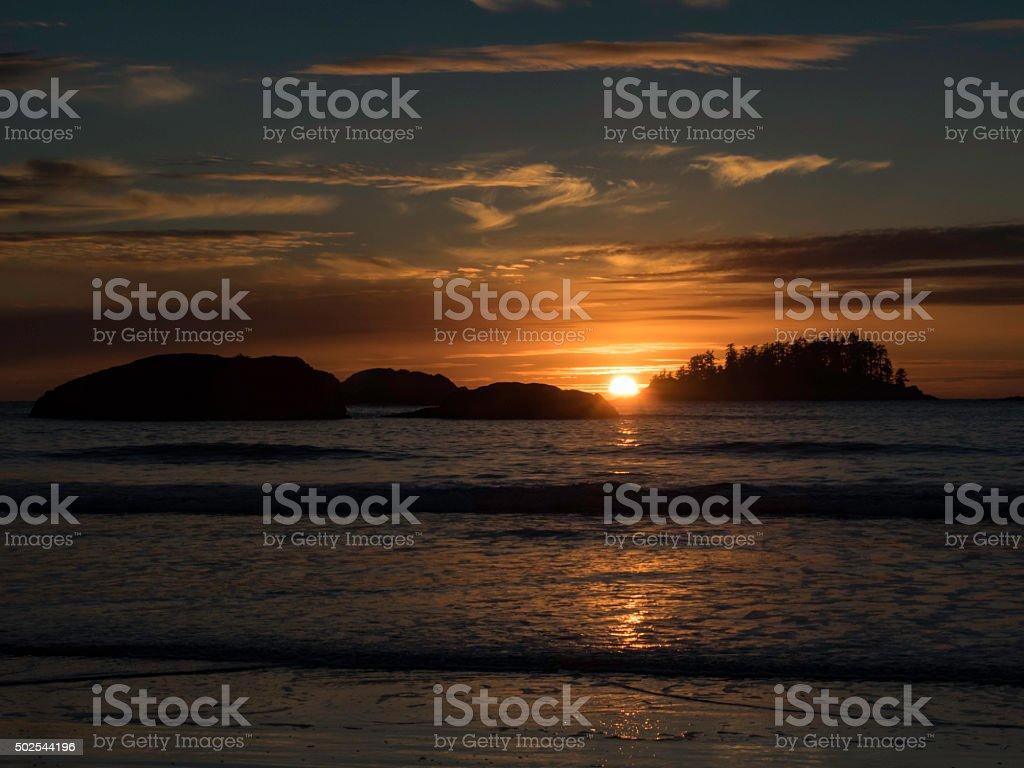 Tofino Winter Sunset stock photo