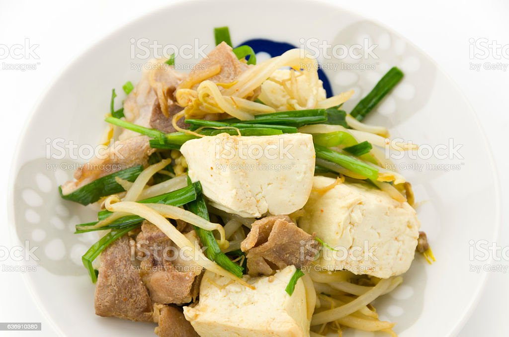 Tofu Chanpuru japanese food stock photo