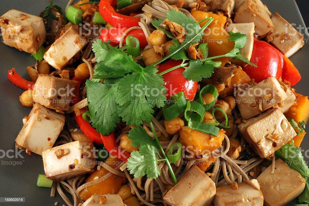 Tofu ginger vegetarian stir fry royalty-free stock photo