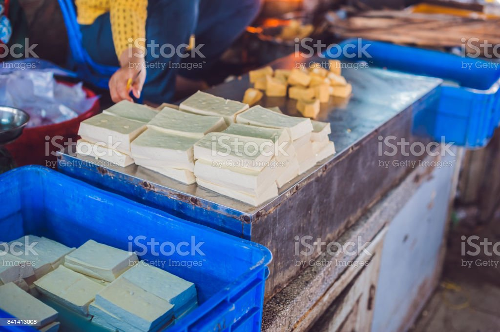 Tofu in the Vietnamese market stock photo