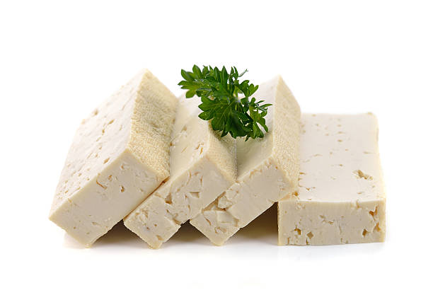 Tofu isolated on white background. - Photo