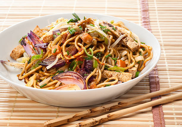 Tofu, noodles and Vegetable Stir Fry. stock photo