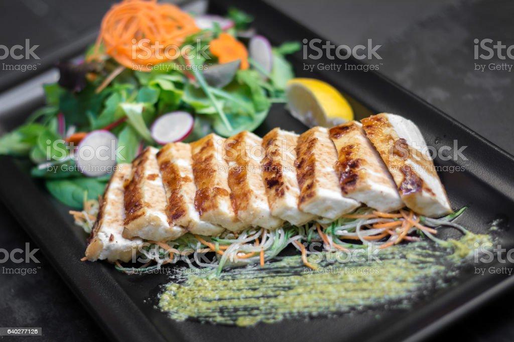 Tofu steak stock photo