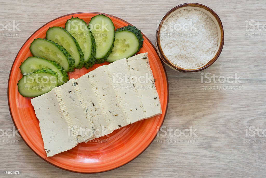 Tofu with cucumber and sea salt stock photo