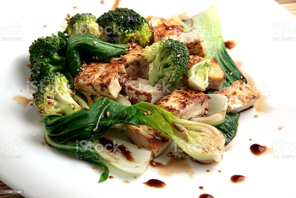 tofu with vegetables and soy sauce stock photo