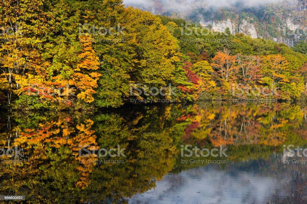 Togakushi's Lake  , Kagami-ike pond in autumn morning stock photo