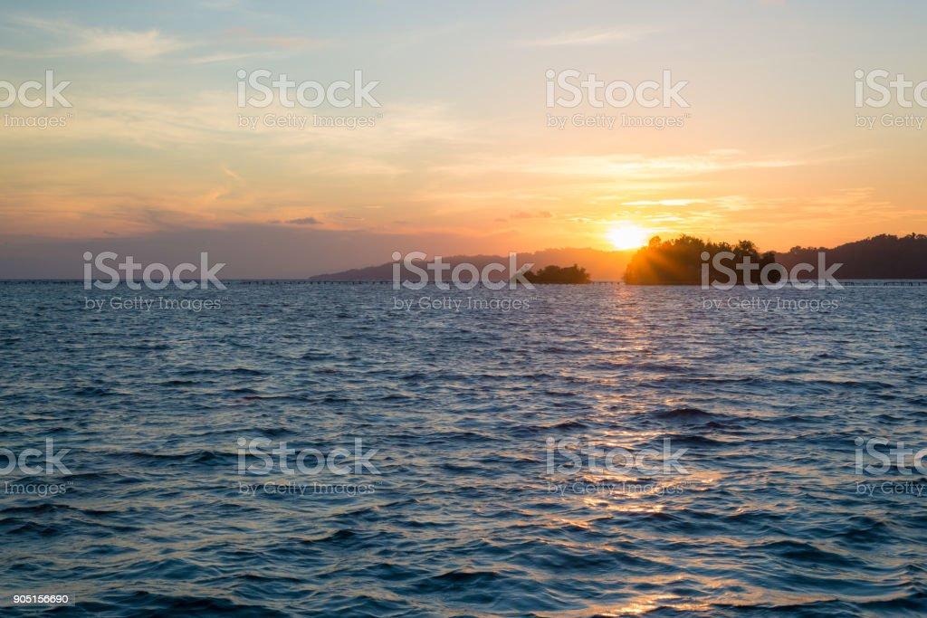 Togean Islands Sunrise, Togian Islands, travel destination in Sulawesi, Indonesia. stock photo
