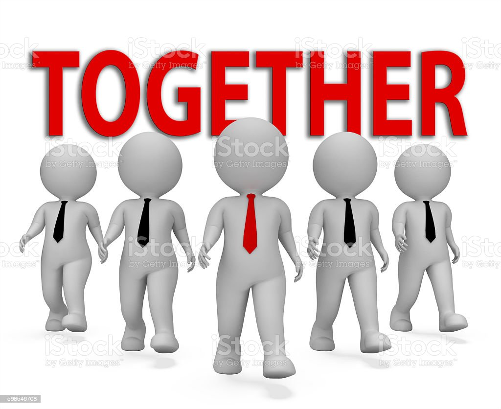 Together Businessmen Represents Team Work And Group 3d Rendering photo libre de droits