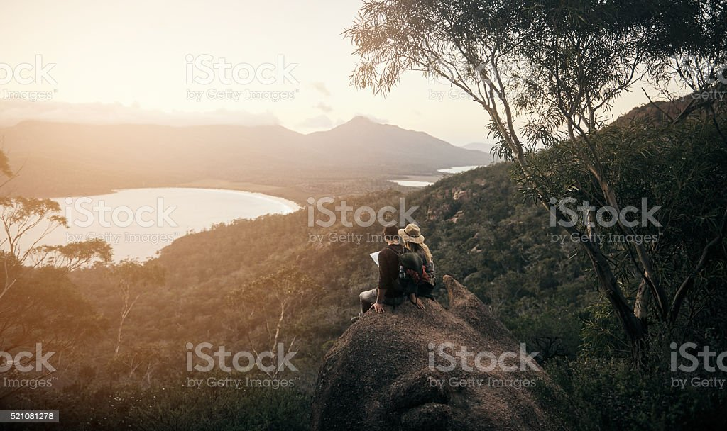 Together on the road less travelled stock photo