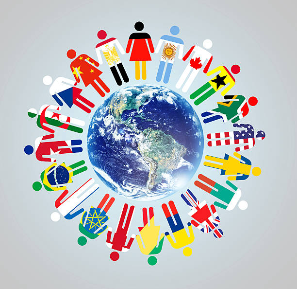 Together we make a difference! A globe with vector representations of world cultures and nationalities standing around ithttp://195.154.178.81/DATA/i_collage/pi/shoots/784106.jpg global village stock pictures, royalty-free photos & images