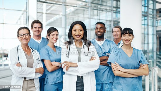Portrait of a group of medical practitioners standing together in a hospital