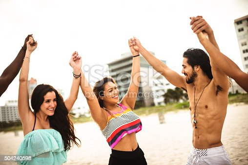866758230 istock photo Together with arm raised 504240598