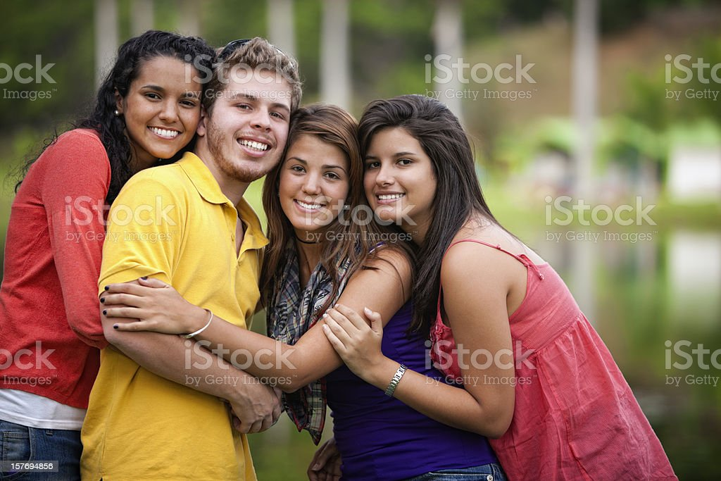 Togetherness - Multi-ethnic group of young happy friends royalty-free stock photo