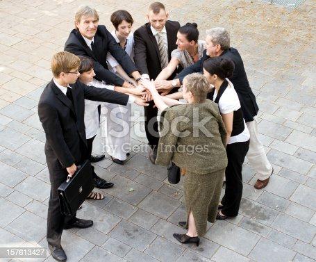 Business team demonstrating togetherness.