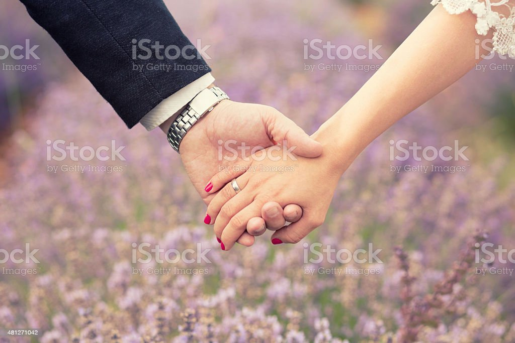 Togetherness Holding hands. Close up of a male and female hands holding each other. Lavender field in the back. 2015 Stock Photo