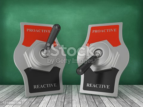 PROACTIVE REACTIVE Toggle Switch on Chalkboard Background - 3D Rendering