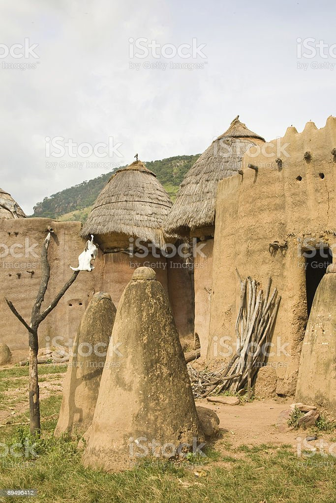 Togo, Africa:  Village at Koutammakou World Heritage Site royaltyfri bildbanksbilder
