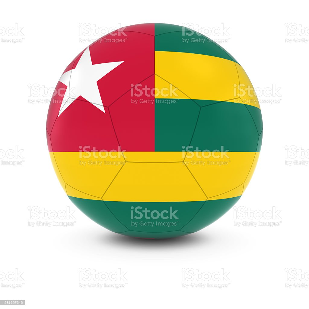 Togo Football - Togolese Flag on Soccer Ball stock photo