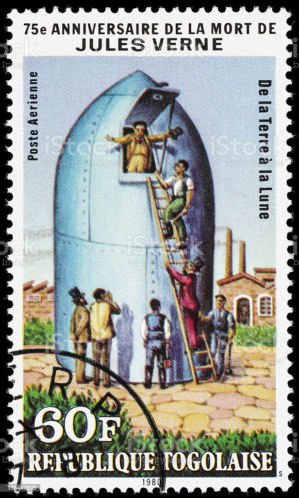 Togo From the Earth to-the Moon postage stamp stock photo