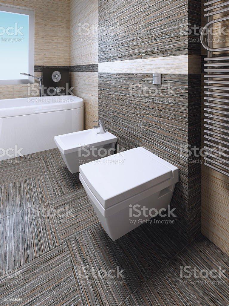 Toilet and bidet in modern bathroom stock photo