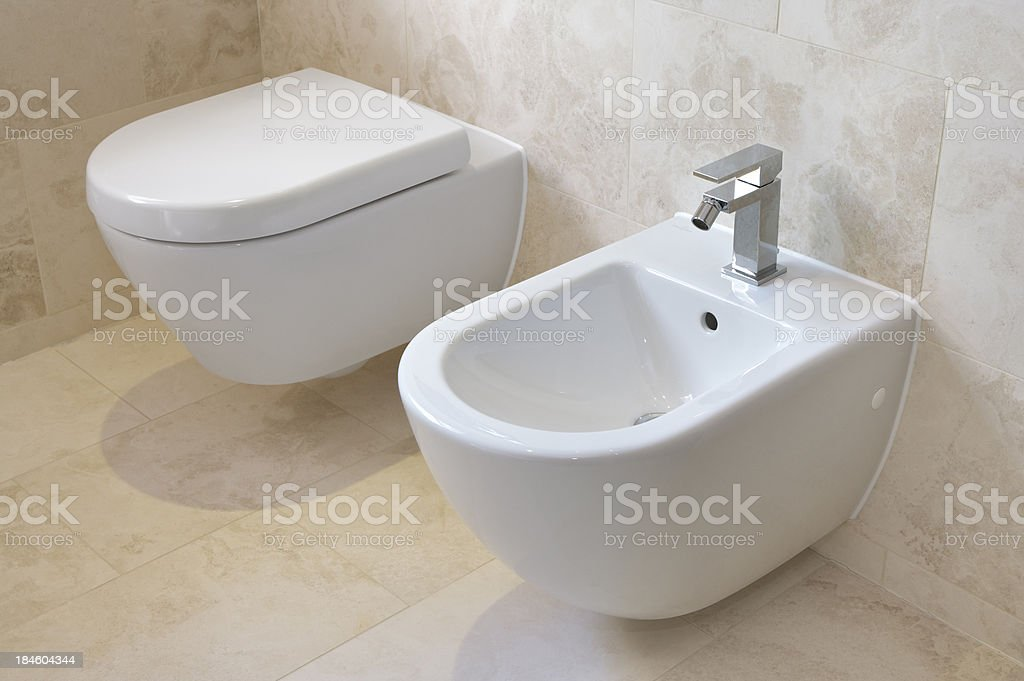 toilet and bidet stock photo