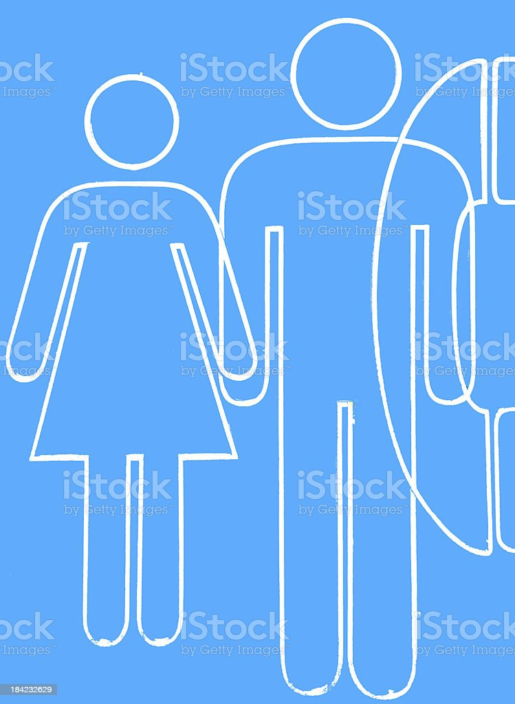 Toilet and phone sign on blue background royalty-free stock photo