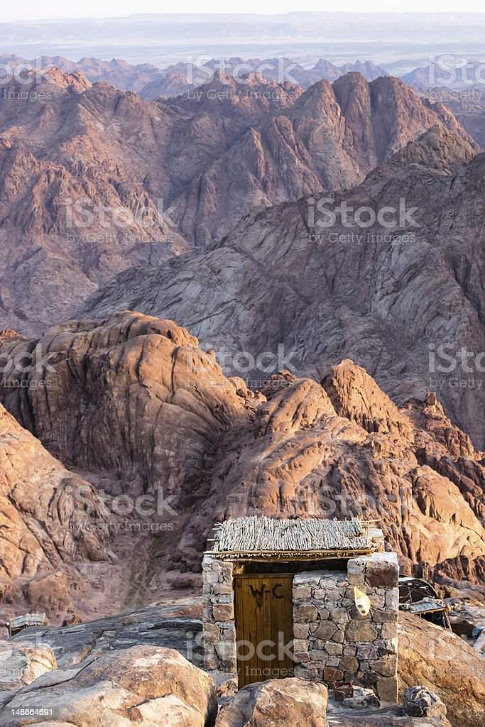 Toilet at the top of Mount Sinai, Egypt royalty-free stock photo