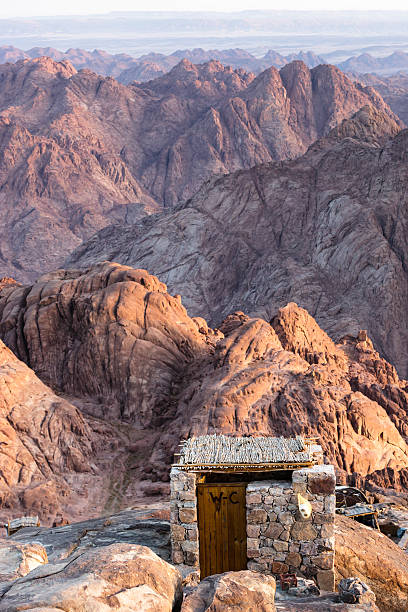 Toilet at the top of Mount Sinai, Egypt stock photo