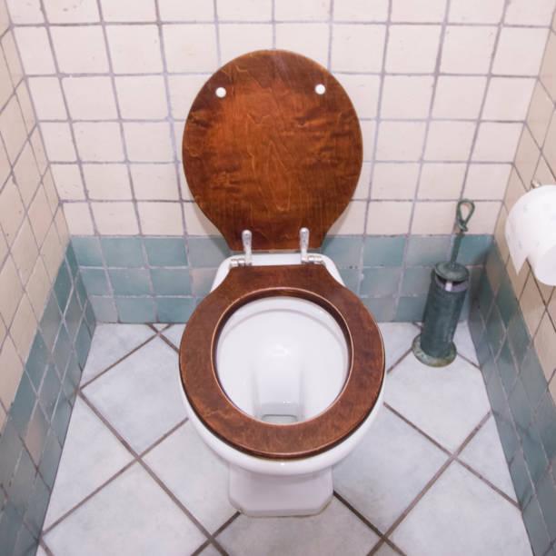 toilet, bathroom, seat down stock photo