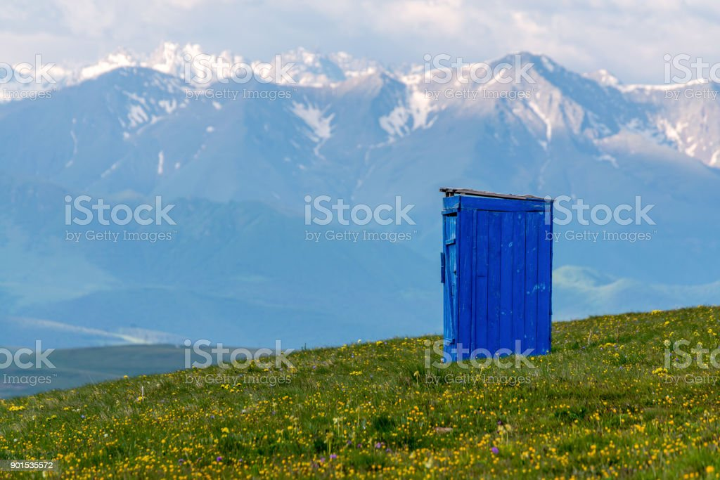 Toilet blue mountains in the background stock photo