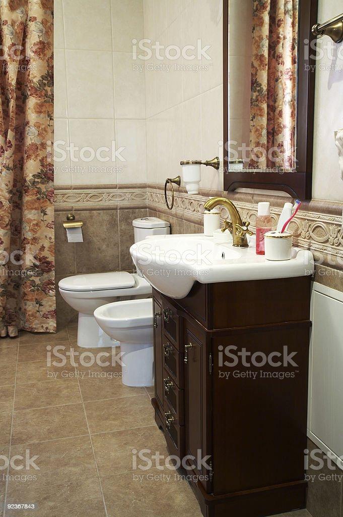 Toilet bowl, bidet and sink royalty-free stock photo
