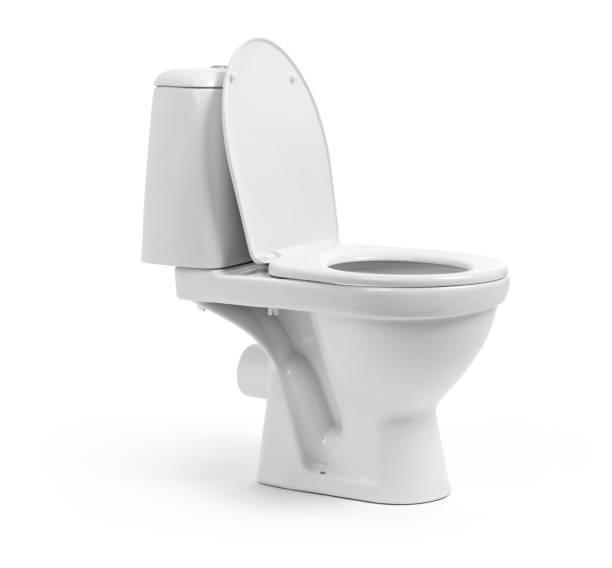 白い背景で隔離の便器 - お手洗い ストックフォトと画像