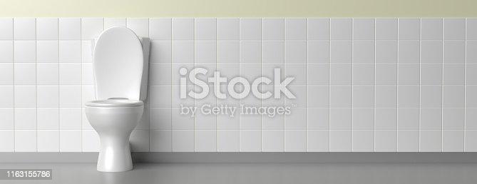 istock Toilet bowl on white background, banner. 3d illustration 1163155786