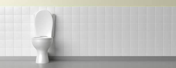 Toilettenschüssel auf weißem Hintergrund, Banner. 3D-Illustration – Foto