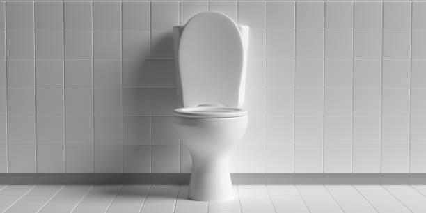 Toilettenschüssel auf weißem Hintergrund, Kopierraum. 3D-Illustration – Foto