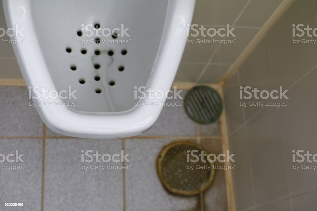 Toilet Dirty Closet Rusty Water And Male Urine In Office Stock Photo