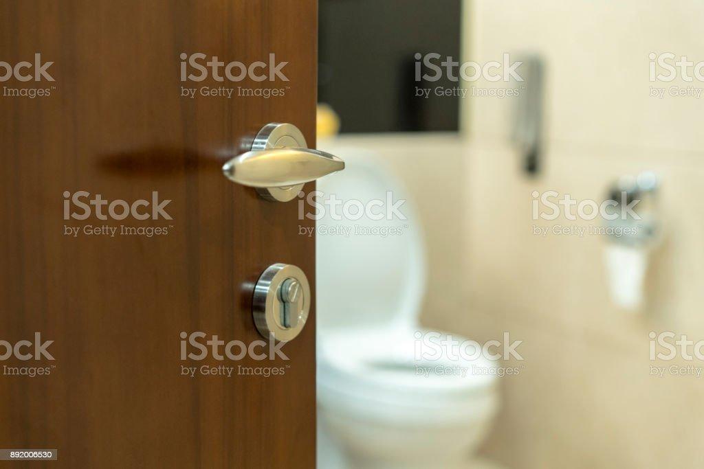 toilet door stock photo