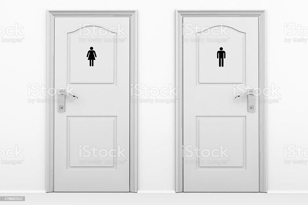 Toilet doors for male and female genders stock photo