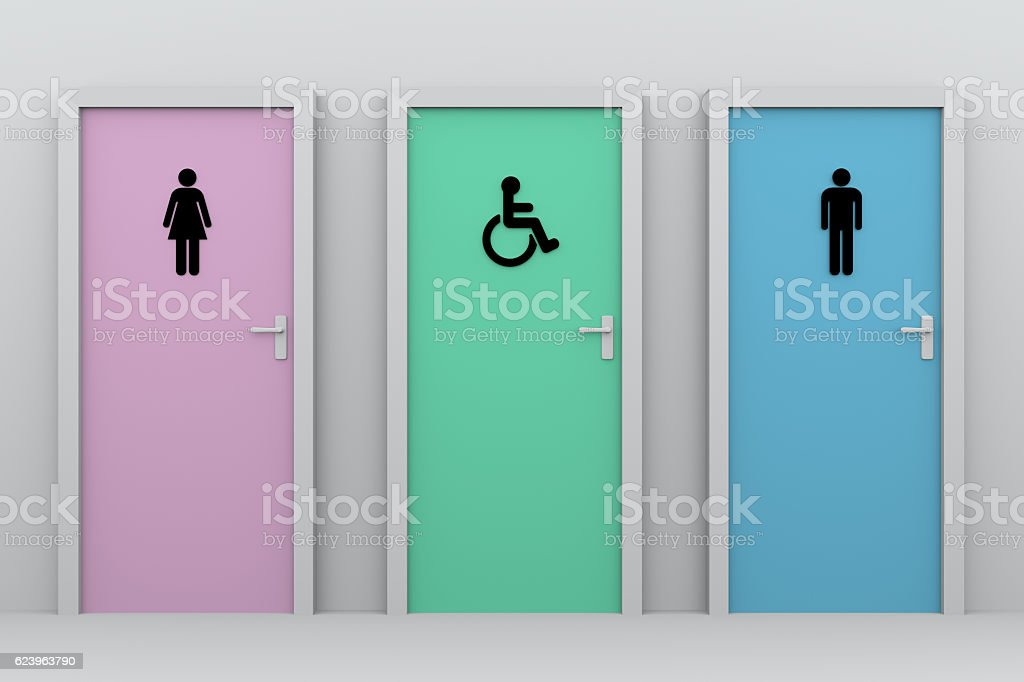 toilet doors for women and men and disabled persons - foto de acervo