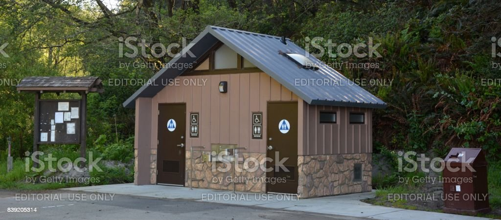 Toilet house at the Frederick W. Panhorst Bridge, more commonly known as the Russian Gulch Bridge in Mendocino County, California USA stock photo