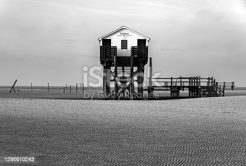 Toilet house at the beach of Sankt Peter Ording at the North Sea, Germany