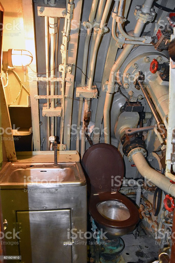Toilet in a submarine photo libre de droits