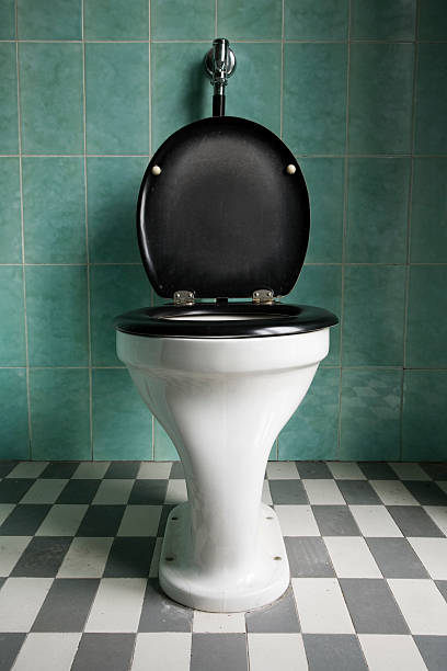 Toilet in Oldschool or Retro Bathroom stock photo